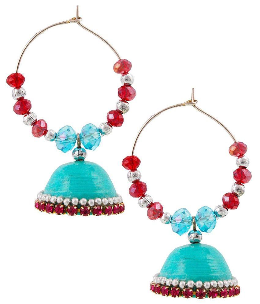 Bigcart Blue Brass Jhumki Earrings
