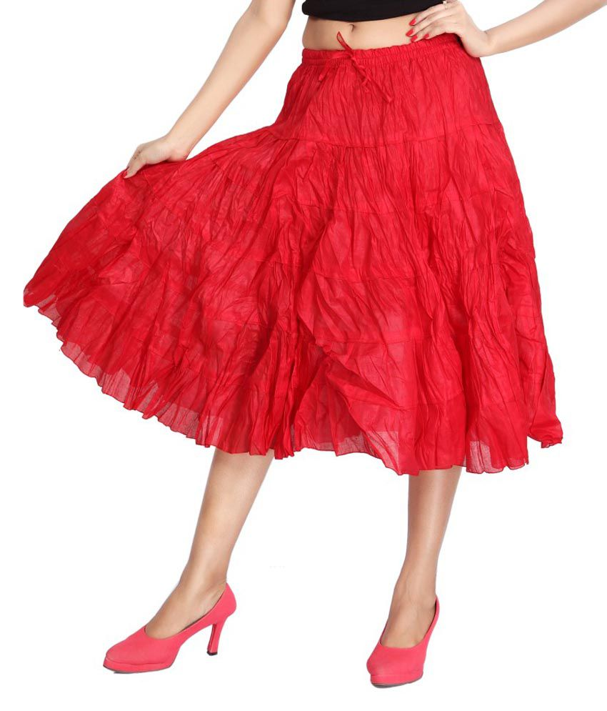 9eb16d223 Buy Carrel Red Cotton Midi Skirt Online at Best Prices in India - Snapdeal