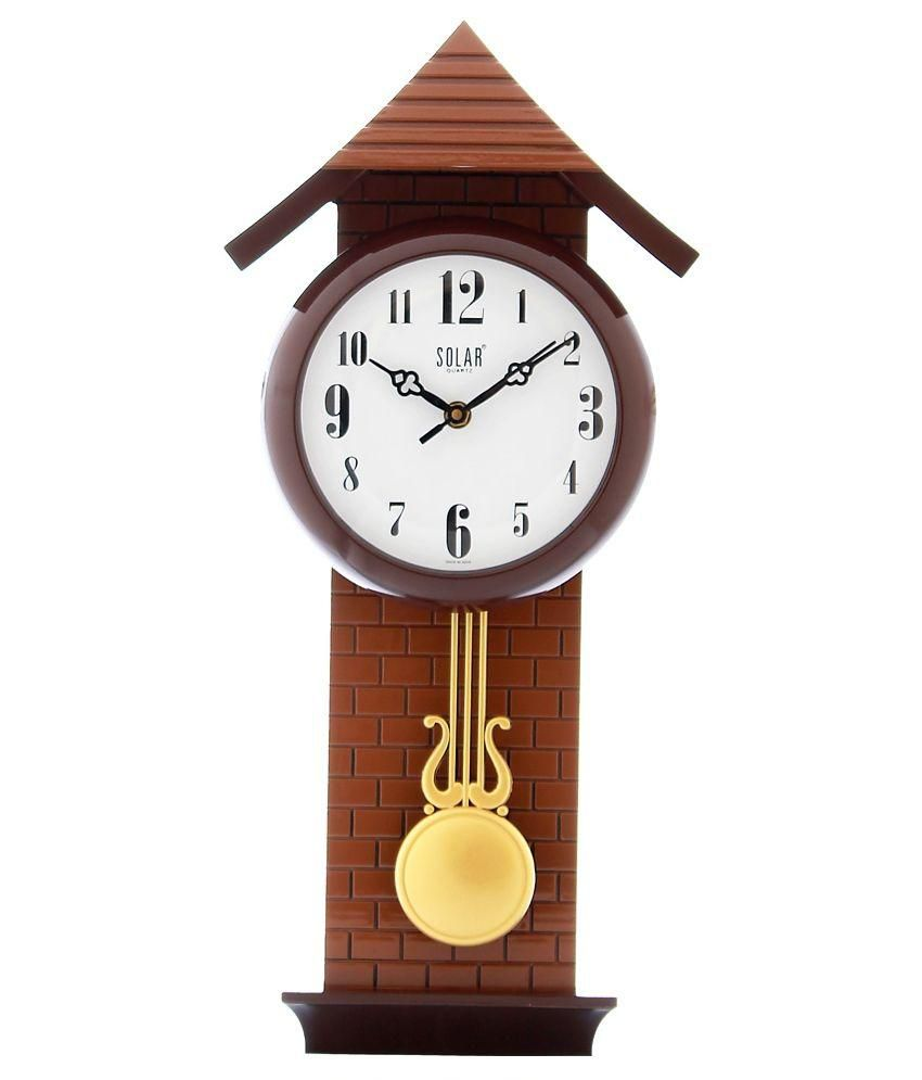 Fieesta Brown Solar Analog Pendulum Wall Clock