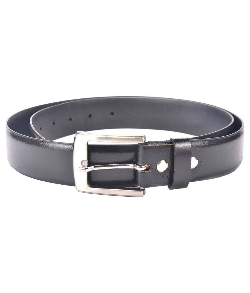 Hidelink Black Leather Pin Buckle Belt For Men