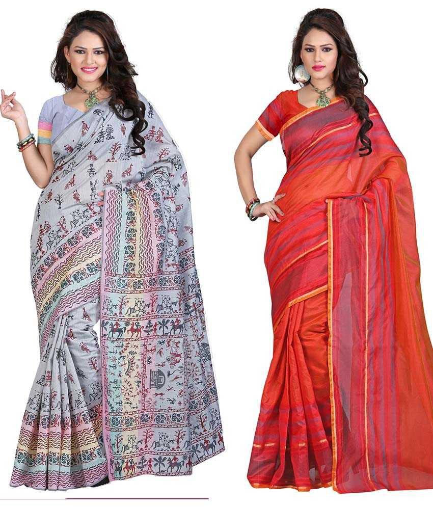 Sareeshop Designer Sarees Multi Color Cotton Silk Designer Sarees Pack Of 2