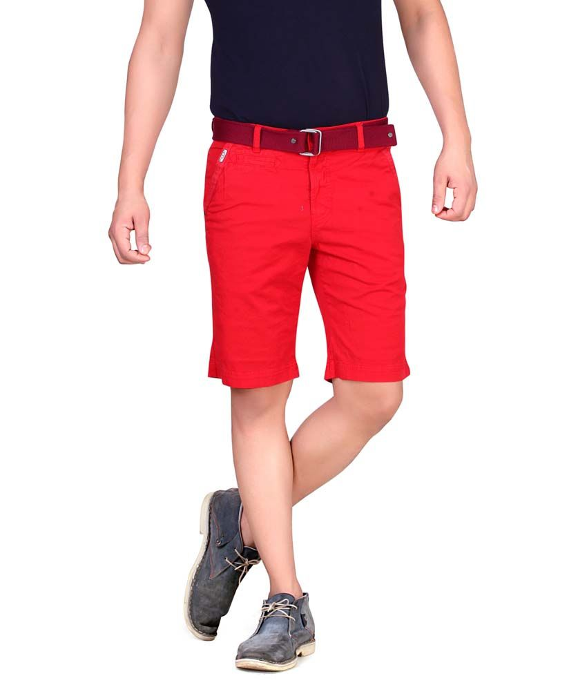 King & I Red Cotton Shorts