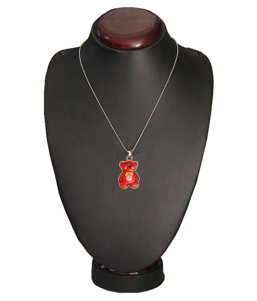 Mens Jewell Teddy Bear Pendant - Red