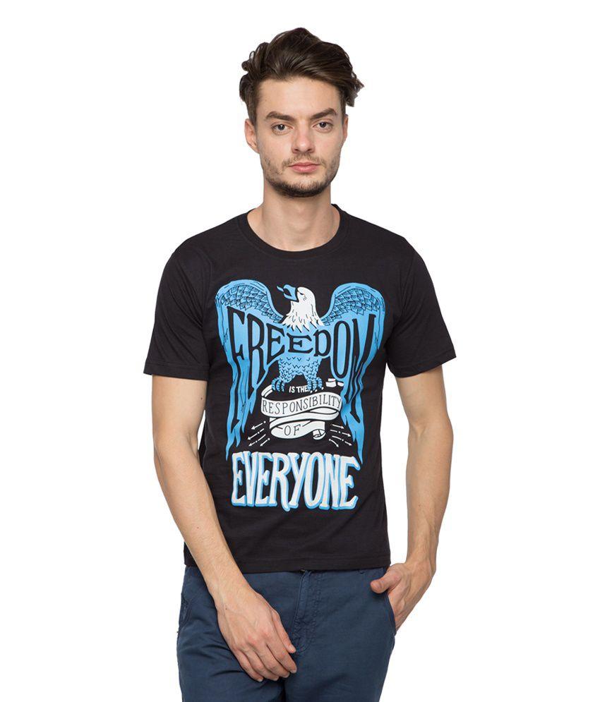 Afylish Black Cotton Printed T-shirt