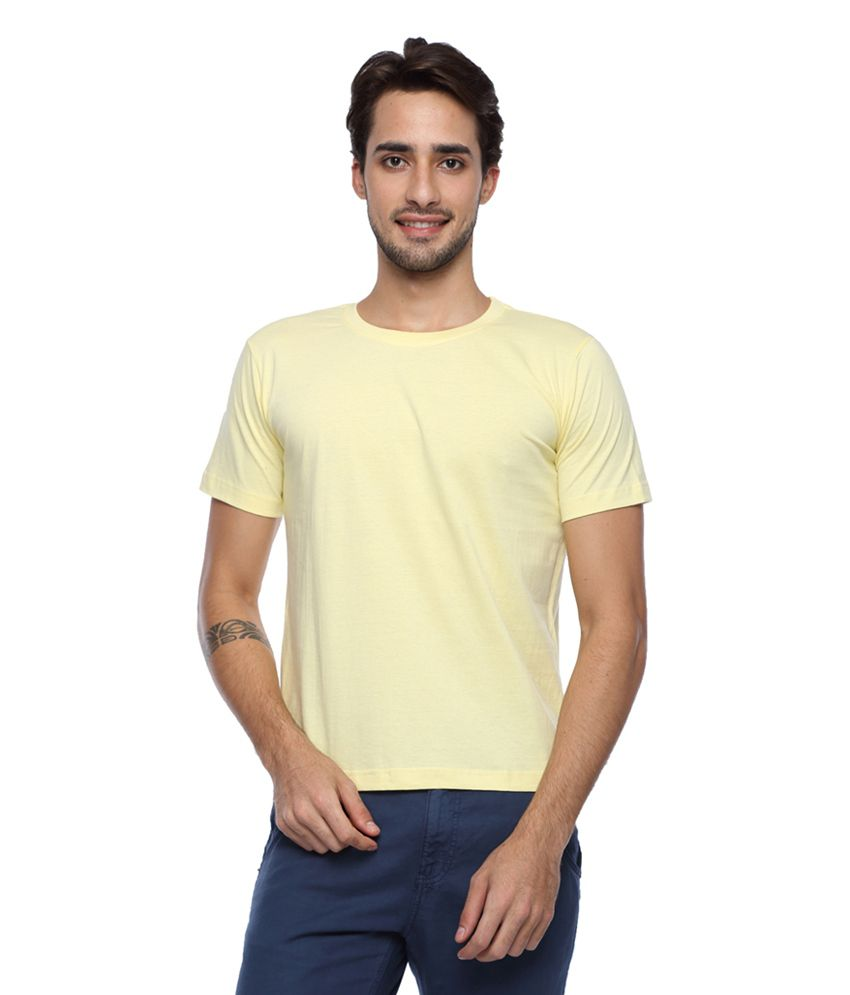 Afylish Yellow Cotton Solid T-shirt