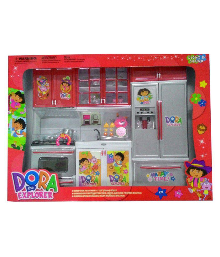 Kitchen Set Toys Online India: Azi Small Dora Plastic Kitchen Set For Kids Best Price In