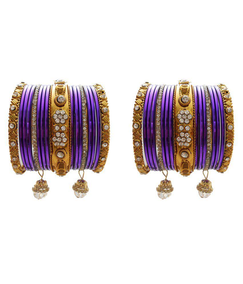 Bridal Chura Purple Wedding Bangles Chuda By My Design(set Of 34)