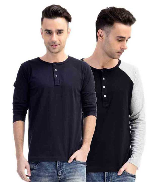 Fabstone Collection Multicolor Cotton Full Sleeve Henley T-shirt - Pack Of 2