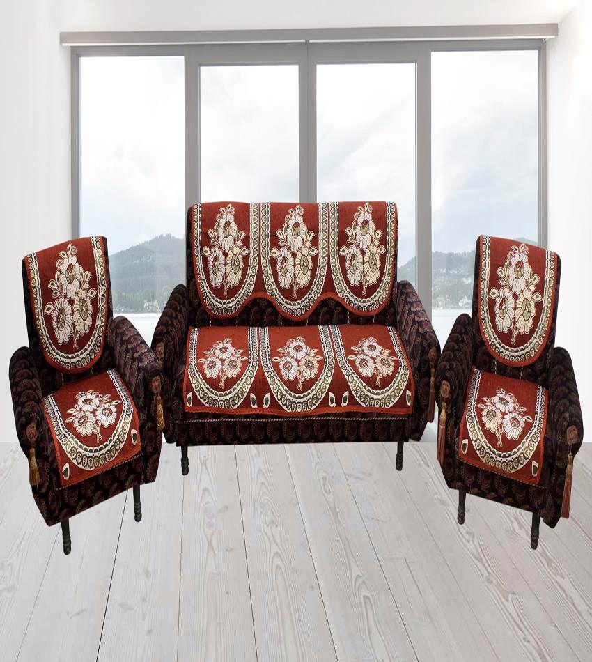 Furnishing Zone Orange Velvet Sofa Covers Set Of 10