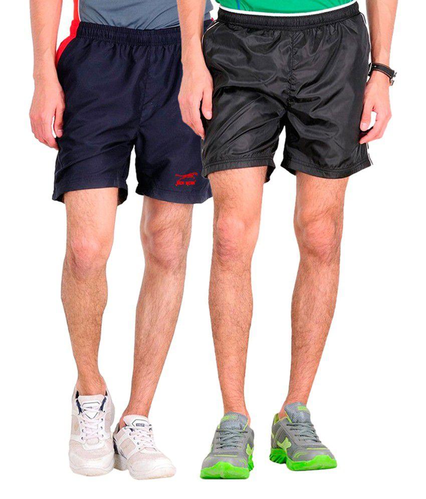 Jack Wear Navy Blue & Black Polyester Men's Shorts (pack Of 2)
