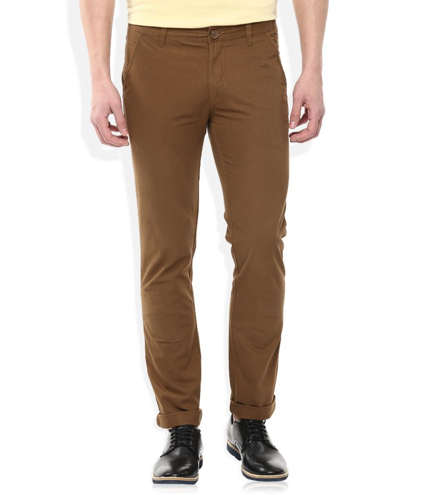 John Players Brown Slim Fit Chinos