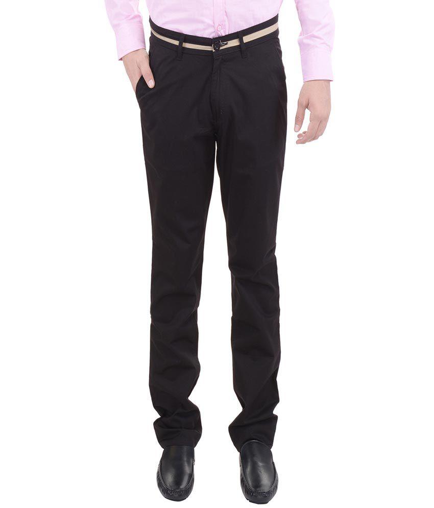 AARP'S Black Slim Fit Flat Trousers