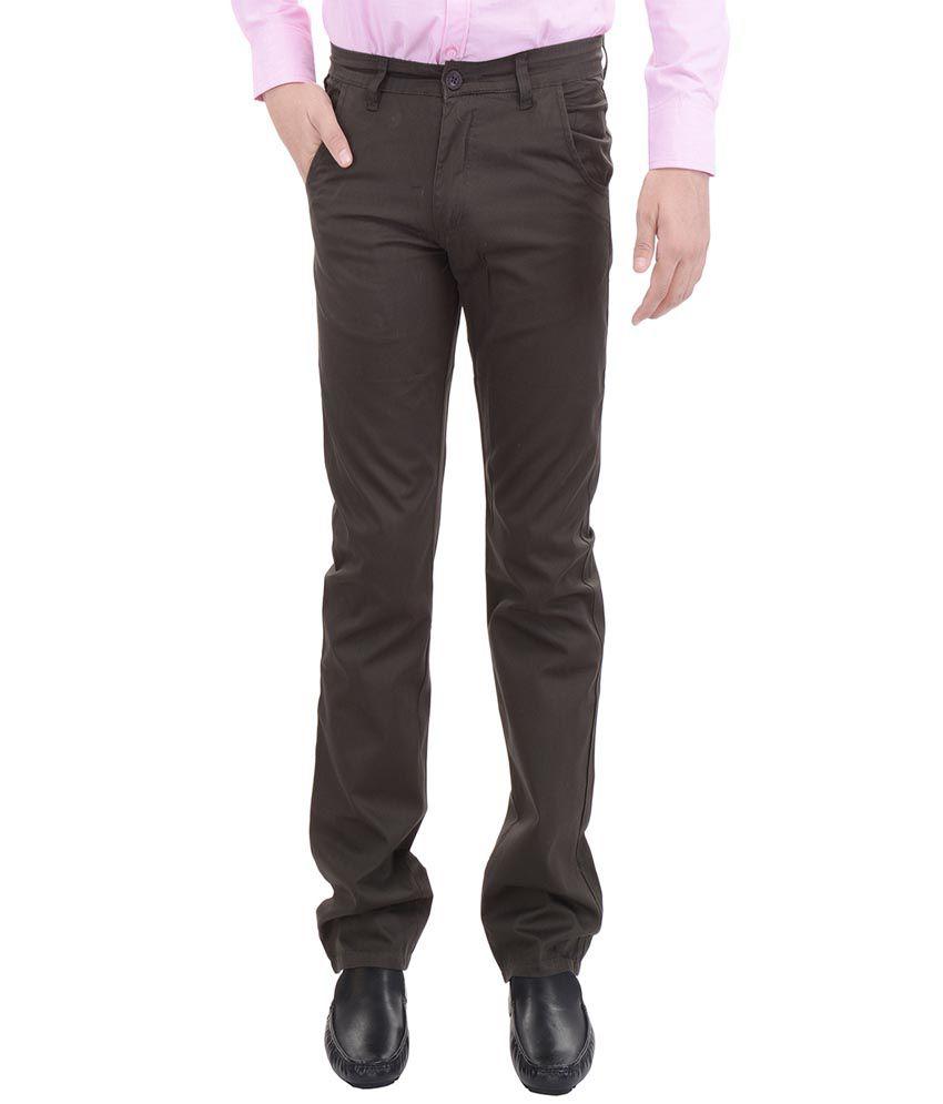 AARP'S Green Slim Fit Flat Trousers