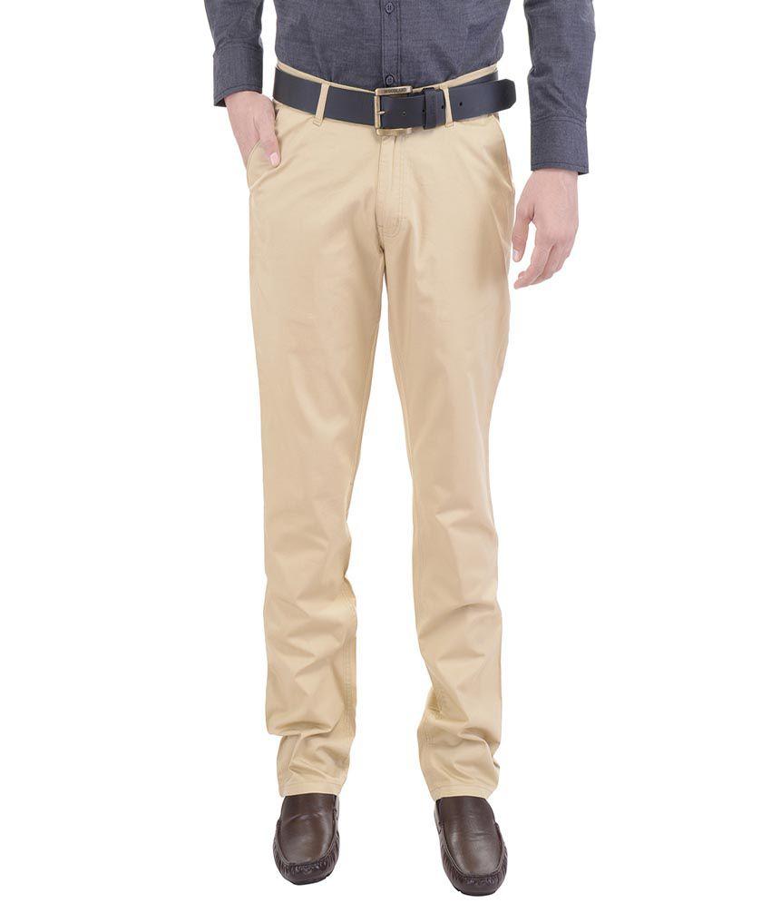 AARP'S Khaki Slim Fit Flat Trousers