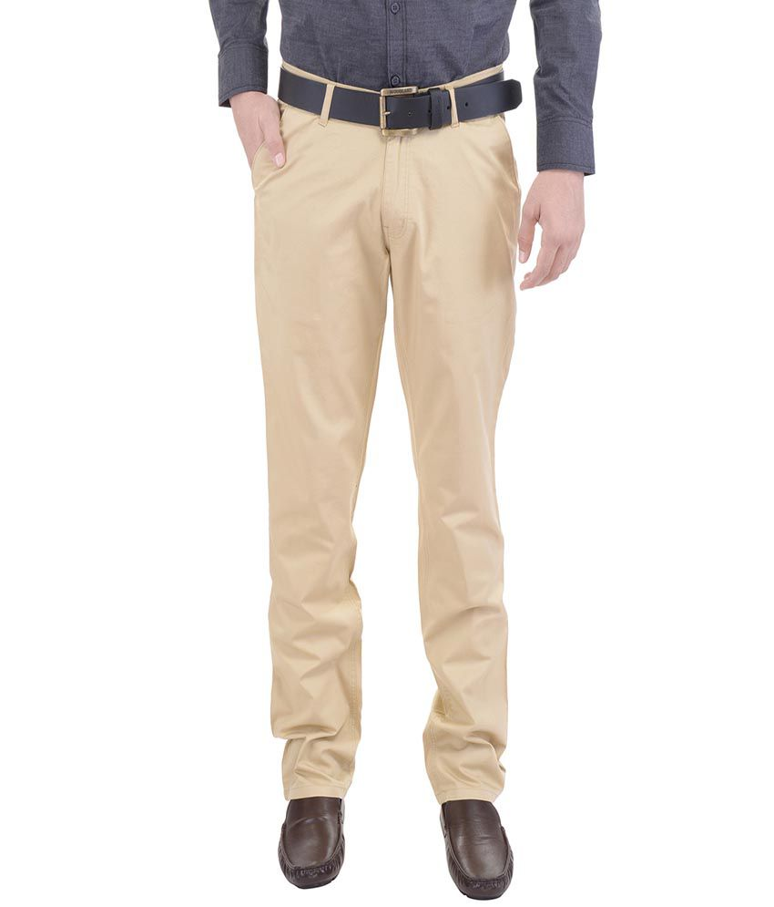 AARP'S Khaki Slim Fit Flat Trousers
