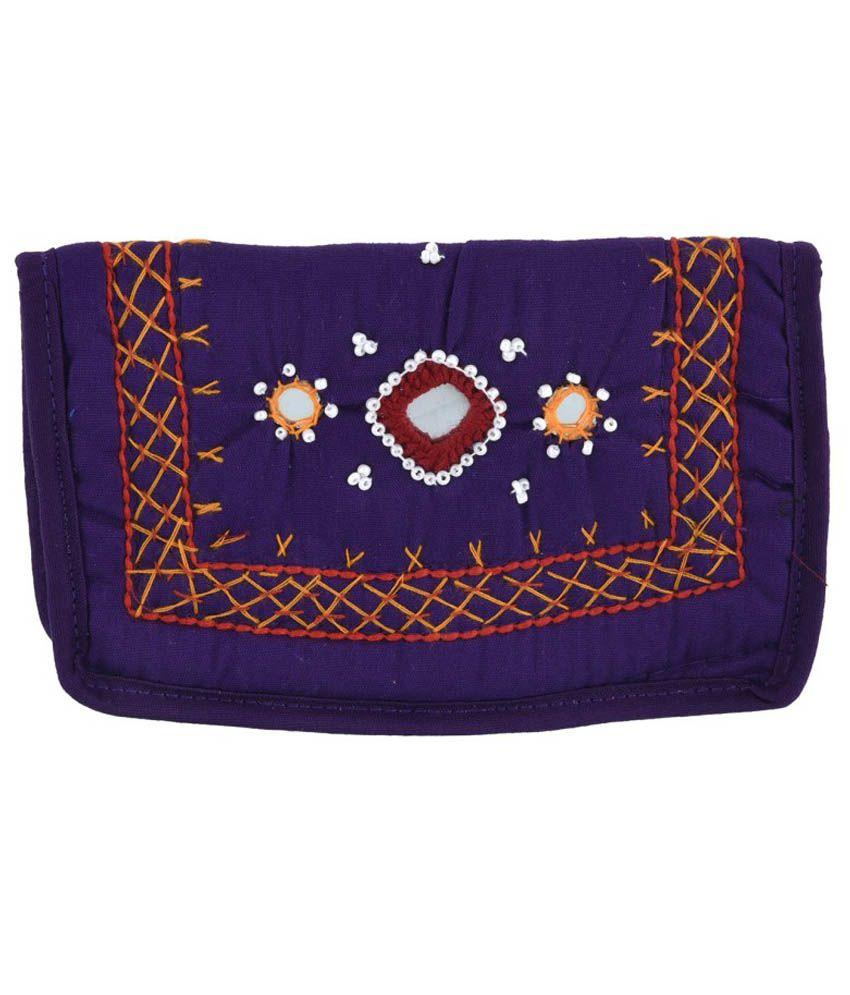 Diamonds World Purple Fabric Clutch
