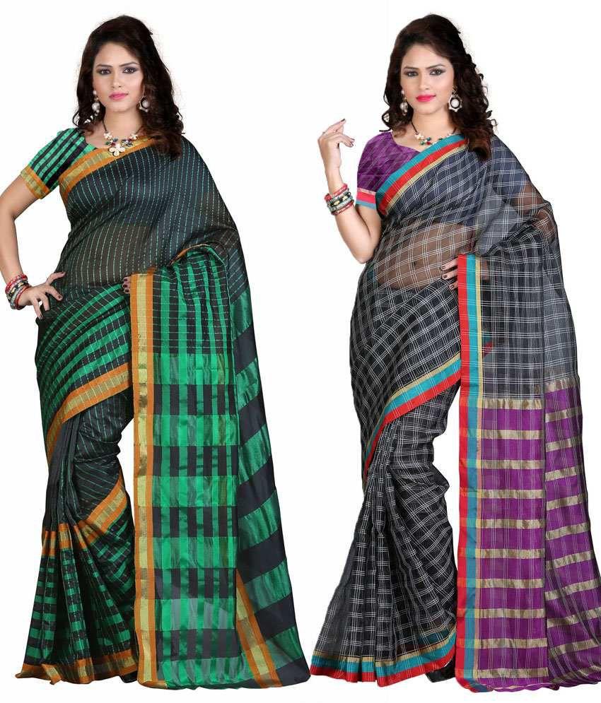 IndianEfashion Multi Color Cotton Silk Sarees- Pack of 2
