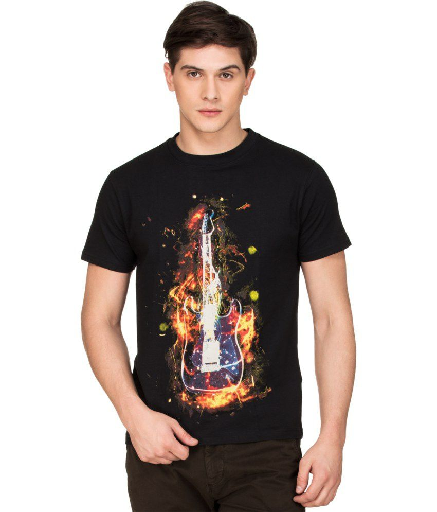 Zovi Black Cotton Flaming Guitar Graphic T-shirt