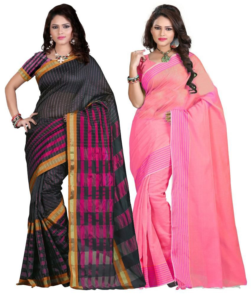 IndianEfashion Multi Color Cotton Silk Designer Sareess - Pack Of 2