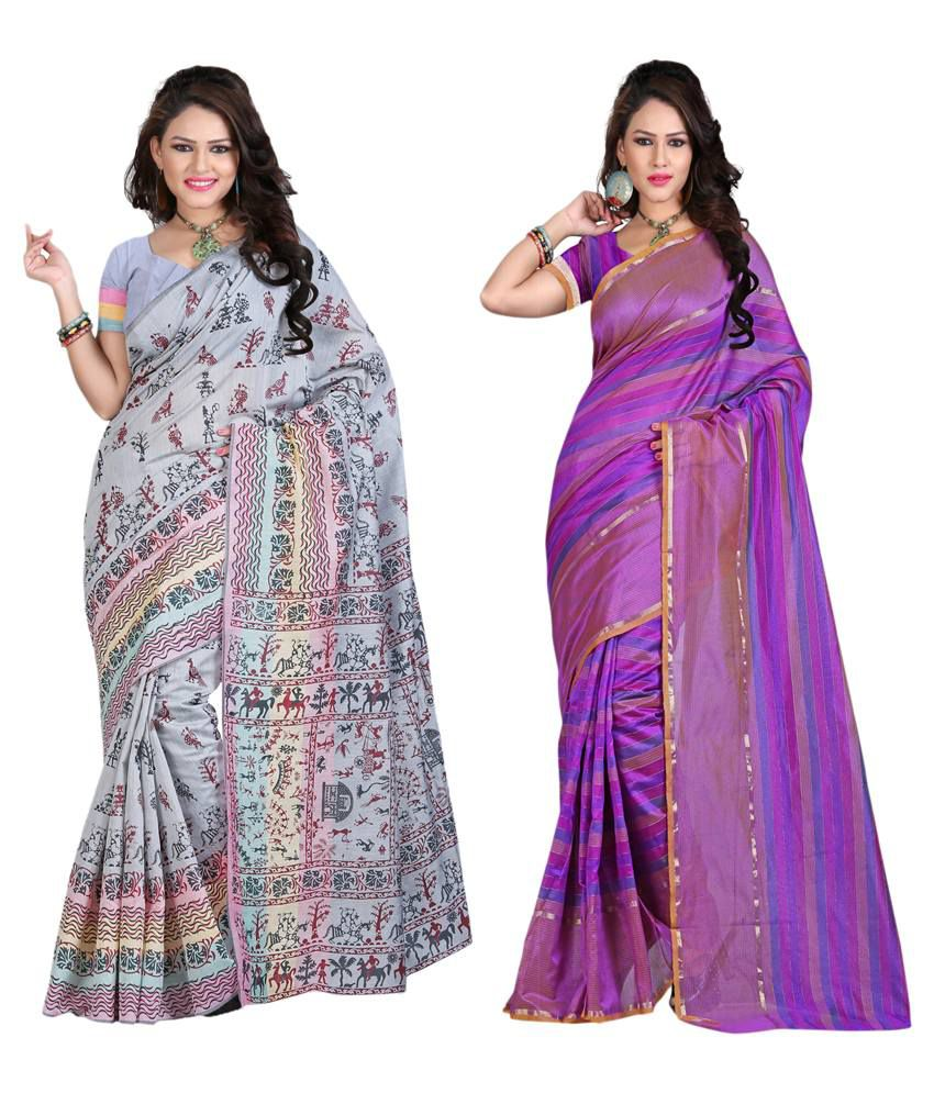 IndianEfashion Multicolour Cotton Silk Pack Of 2