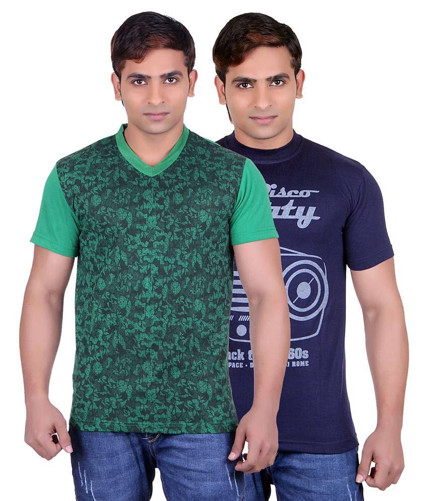 Runn93 Green & Blue Round Neck T-shirt Pack Of 2