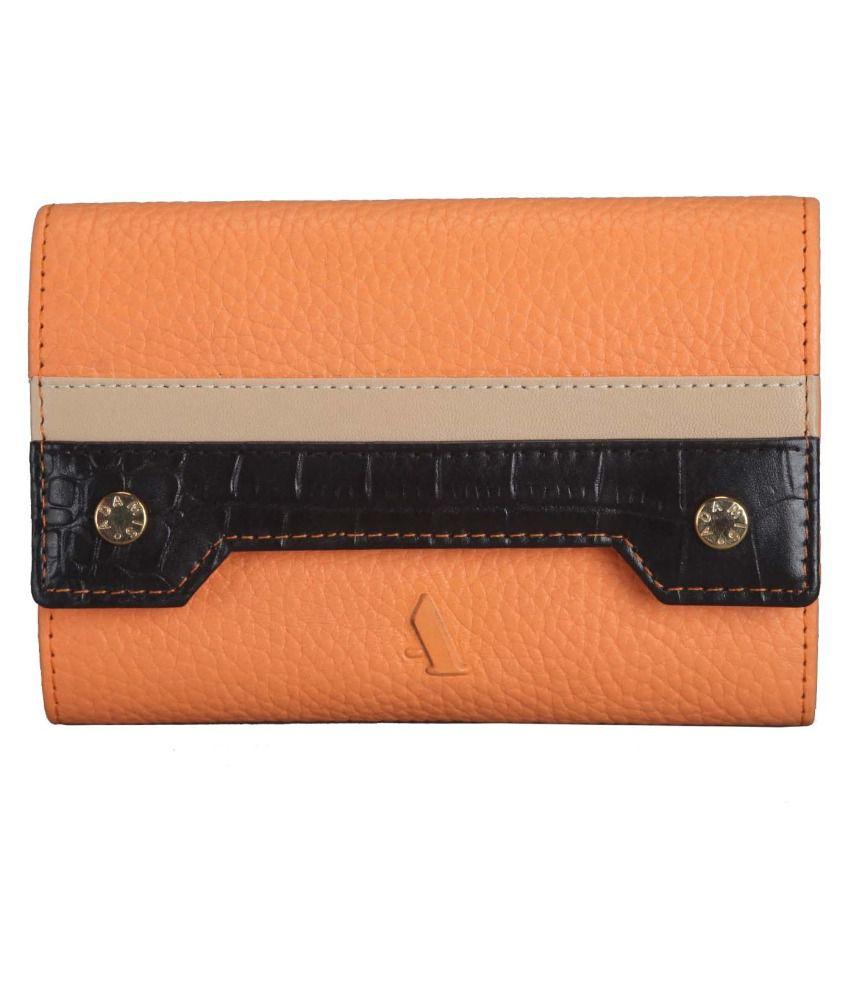 Adamis Orange Leather Regular Wallet For Women