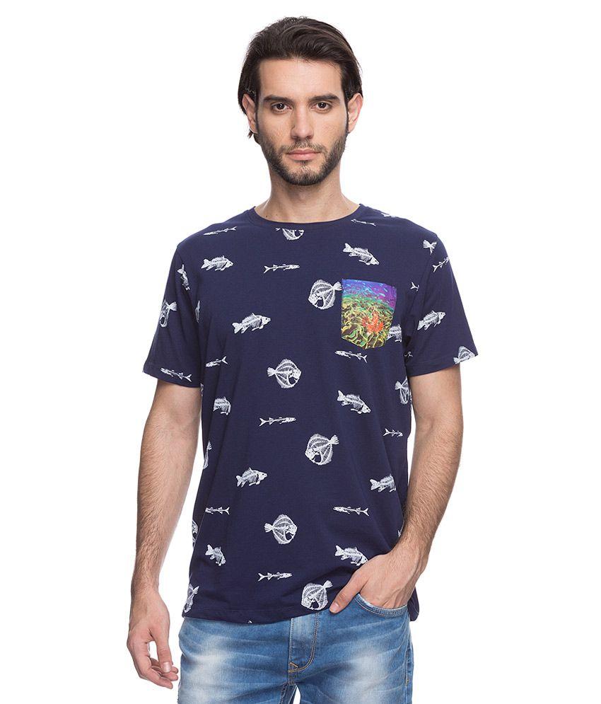Spykar Navy Printed T-Shirt