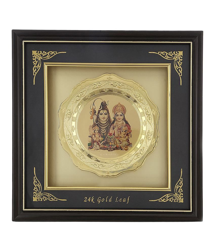 Agastya Black & Golden Gold Plated Lord Shiva Idol