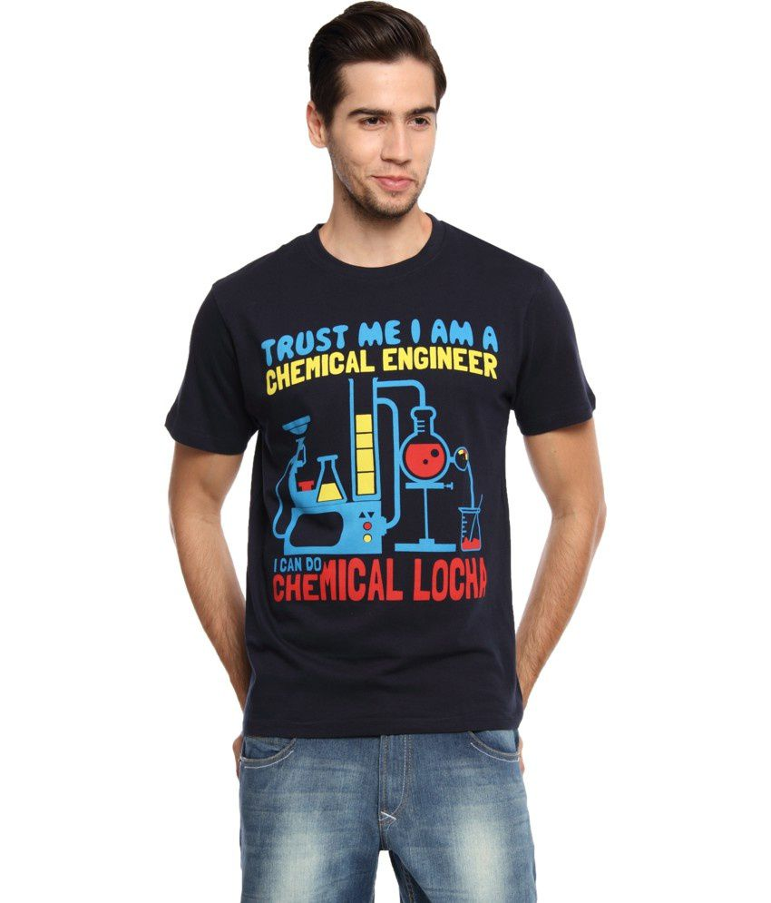 Zovi Black Cotton Chemical Engineer Graphic T-shirt