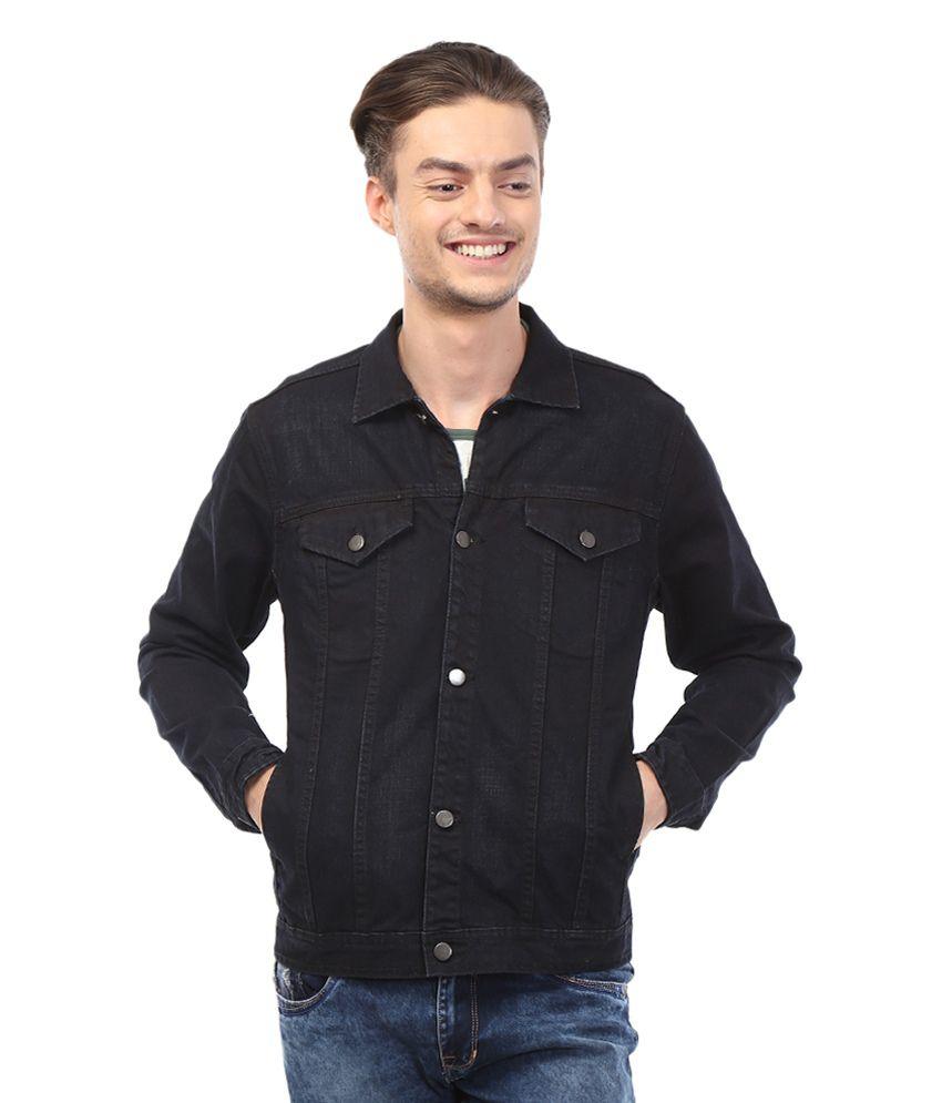 Bandit Black Cotton Blend Slim Fit Denim Jacket Buy Bandit Black