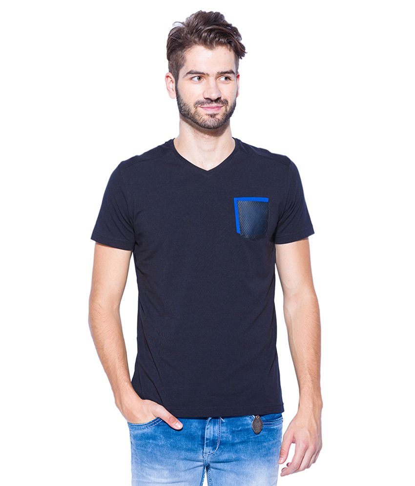 Mufti Black V-Neck T Shirt
