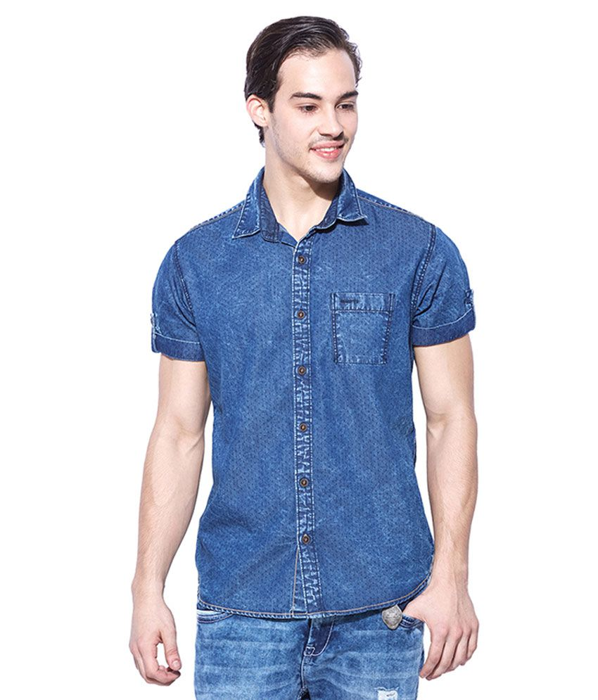 dd7b13c8de Mufti Blue Slim Fit Shirt - Buy Mufti Blue Slim Fit Shirt Online at Best  Prices in India on Snapdeal