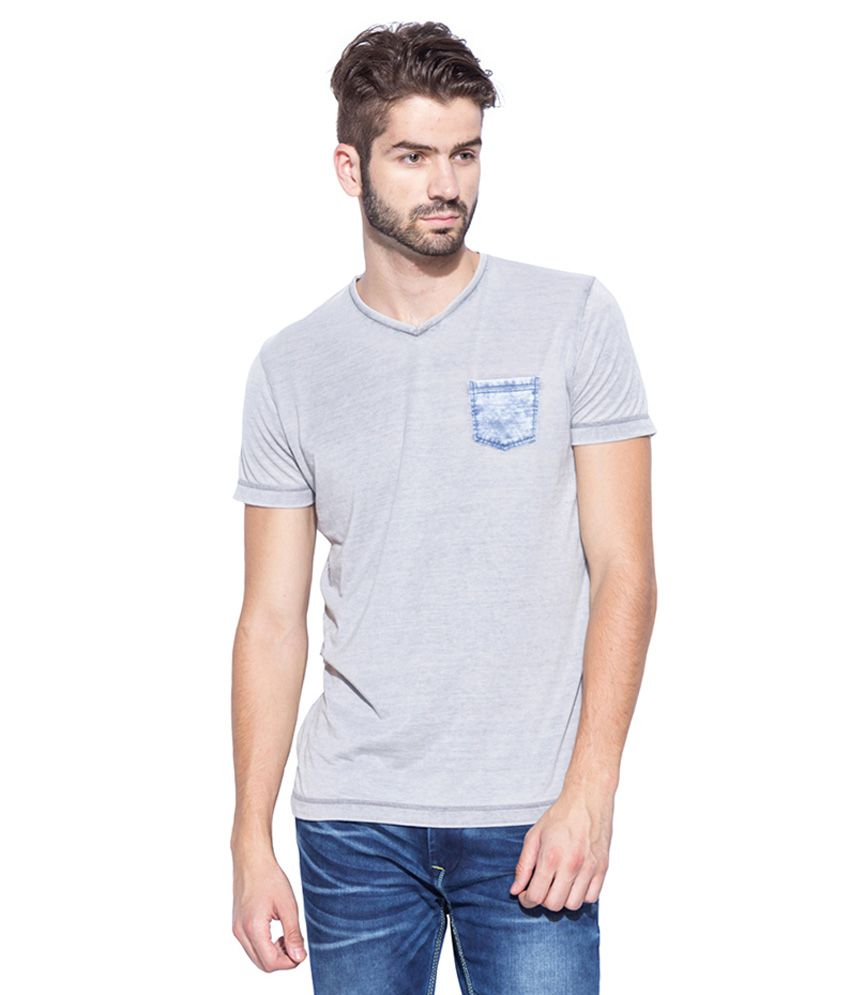 Mufti Grey V-Neck T Shirt