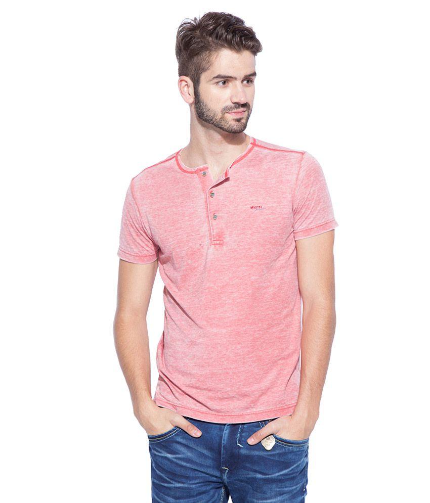 Mufti Red Round Neck T Shirt