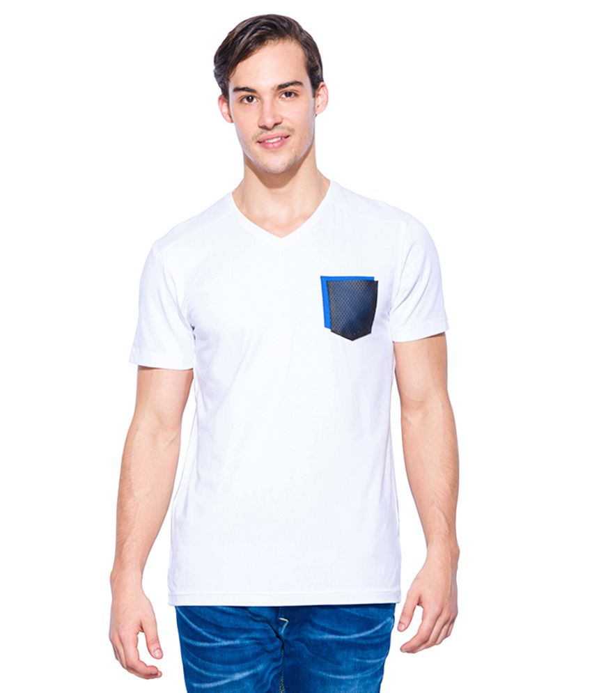 Mufti White V-Neck T Shirt