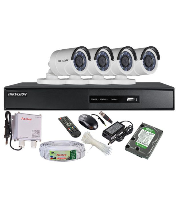 Hikvision-DS-7204HGHI-SH-4-Channel-Dvr-,-4(DS-2CE16COT-IRP)-Bullet-Cameras-(with-Mouse,Remote,1-TB-HDD,-Bnc-&Dc-Connectors,Power-Supply,Cable)