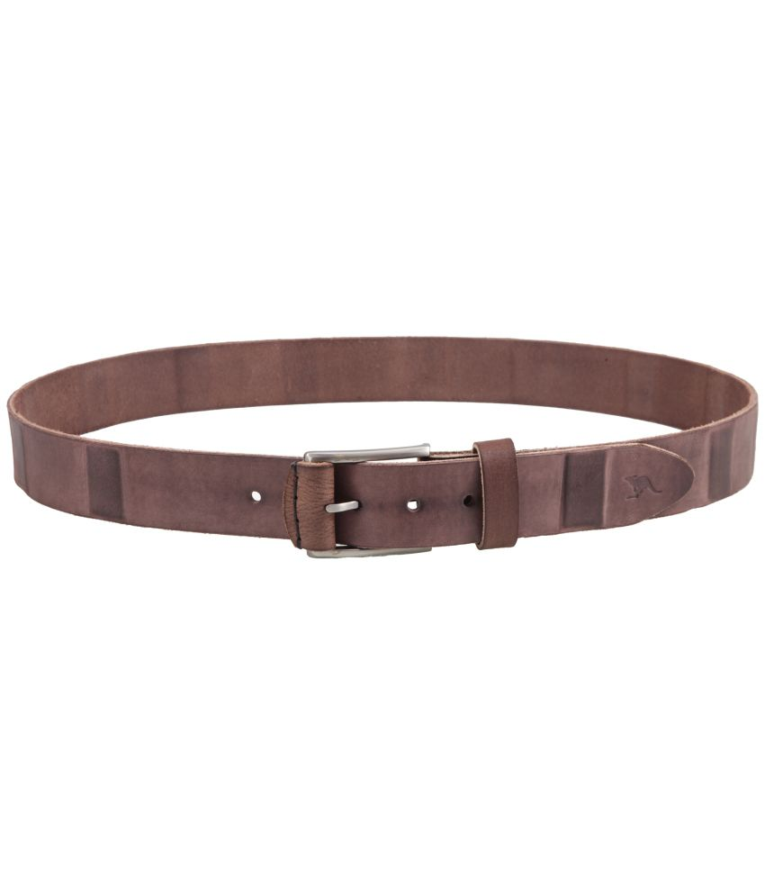 Kangoo Brown Leather Single Casual Belt For Men
