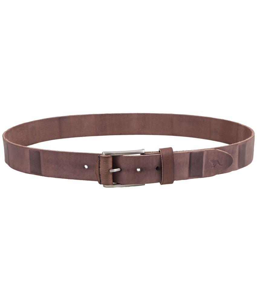 Kangoo Brown Leather Single Casual Belt For Men