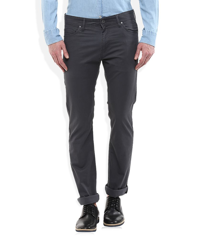 Celio Grey Regular Fit Flat Trousers