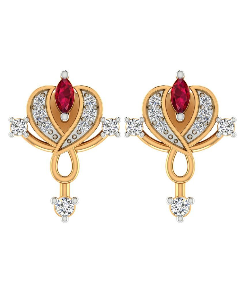Jewels Of Jaipur 14 Kt Gold Style Diamond Ruby Stone Drop Earrings