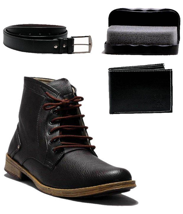 0 Annoyance Brown Boots with Wallet & Belt Combo