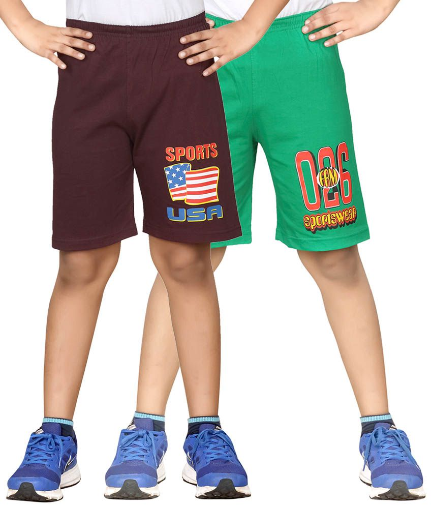 Dongli Brown & Green Shorts For Boys Set Of 2