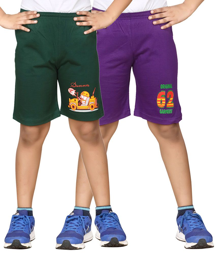 Dongli Green & Purple Shorts For Boys Set Of 2