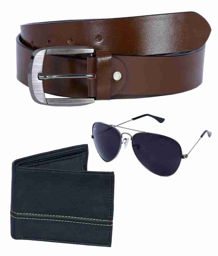Kritika World Brown Leather Belt With Wallet And Sunglass
