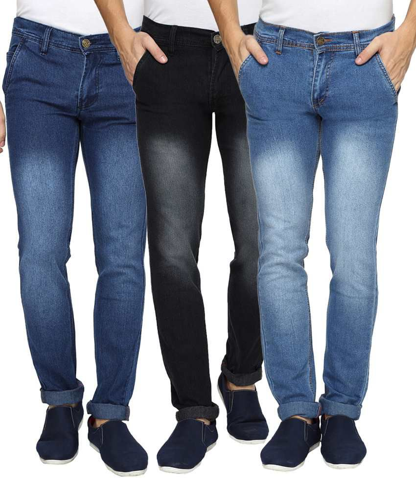 Wajbee Multicolour Regular Fit Jeans Pack Of 3