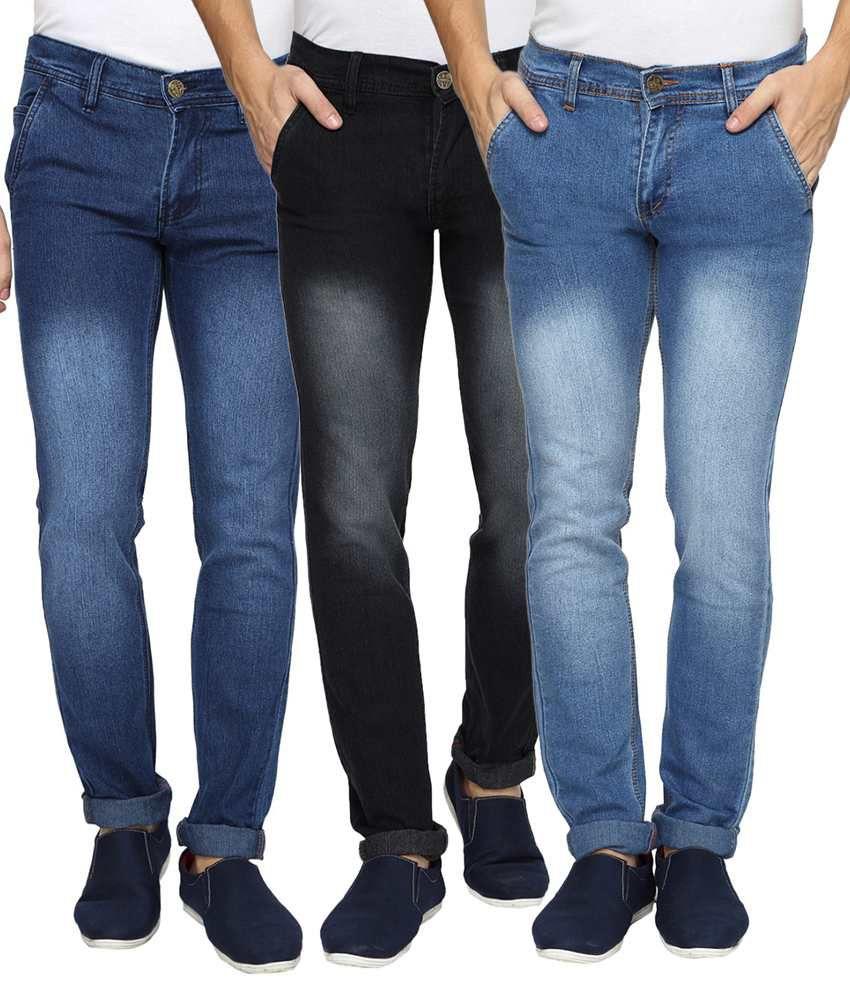 Wajbee Multicolour Regular Fit Jeans Pack Of 3