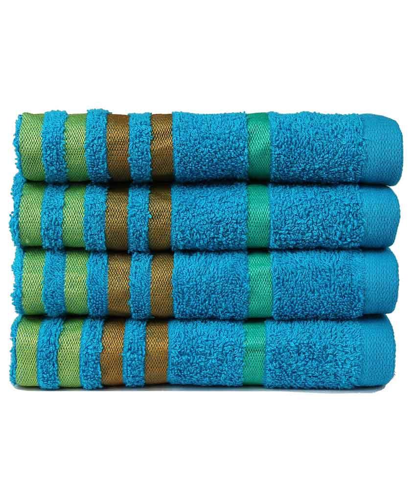 Casa copenhagen set of 4 cotton hand towel blue buy casa copenhagen set of 4 cotton hand - Casa copenaghen ...