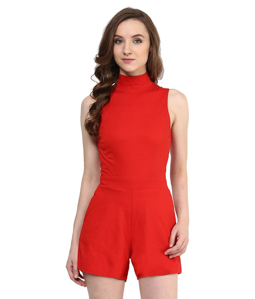 Miss Chase Red Cotton PLAYSUIT For Women Sleeveless Casual Wear