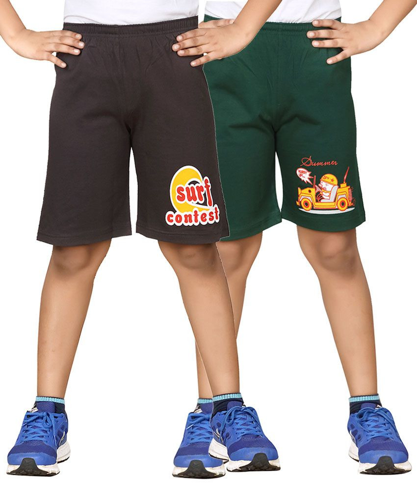 Dongli Gray & Green Shorts For Boys Set Of 2