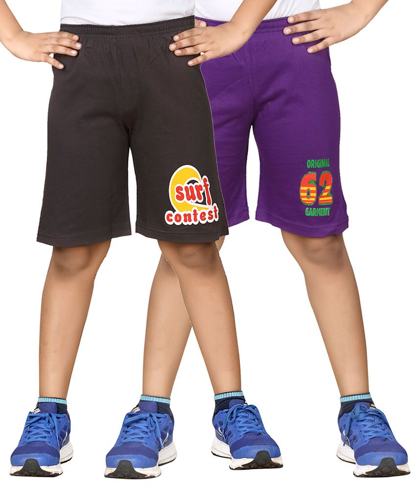 Dongli Gray & Purple Shorts For Boys Set Of 2